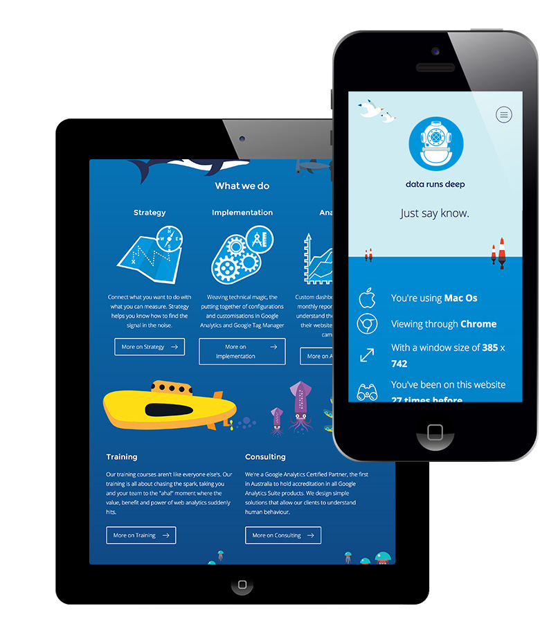 Website design, mobile and iphone size
